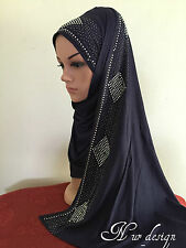 Cotton Jersey  Free size Long Scarf  Hijab with Rhinestones border #1 (No Tax).