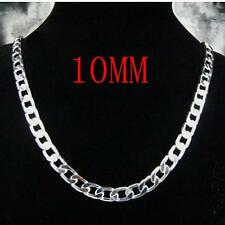 New High Quality 10MM Men  925 Sterling silver Chain Necklace 18-24 inch