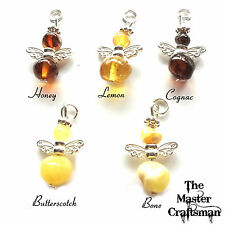 ☆PURE BALTIC AMBER GUARDIAN ANGEL NECKLACE PENDANT CHARM GIFT BOX SILVER PLATE☆