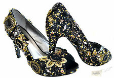 SALE!! Black Gold Lace Bridal vintage Crystal Peeptoe High Heel using Swarovski