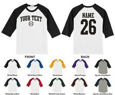 Custom Text & Number Personalized Raglan Baseball T-shirt, ARCHED TEXT