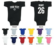 Custom Choose Text & Number Personalized Volleyball Baby One Piece, ARCHED TEXT