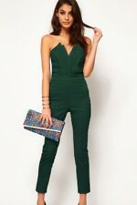 Women Vintage Clubwear Green Sexy Jumpsuit Strapless Vneck Pleated Bust S-XL