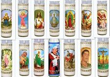 "San Judas Virgen Mary Sacred Jesus Religious & More 8"" Glass Candles From Mexico"