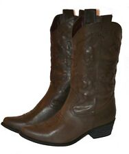 Womens DARK BROWN COWGIRL Boots, Western Shoe Cowboy, Fast Ship, Calf High, NEW