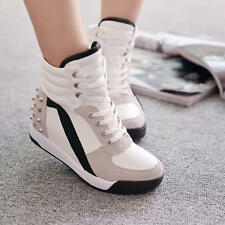 New Hot Womens Fashion High Top Rivet Trainer Shoes Mid Wedge Heel Sneakers