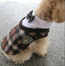 Dog Uniforms Plaid Style Clothes Dog Apparel SIZE 2/3/4/5/6 NEW