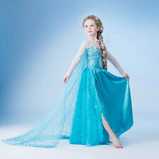 Halloween Girl Frozen Princess Queen Elsa Party Cosplay Costume Fancy Dress 3-9Y