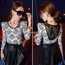 Korean Vintage Backless Sheer Lace Stretch Women T-Shirt Floral Print Top BF9