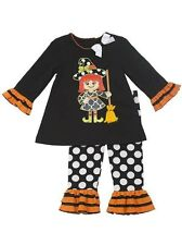 New Rare Editions Girls Witch Applique Fall Halloween Dress Outfit Size 3-9M