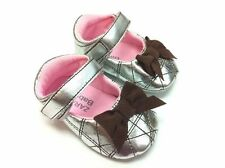 New ZARA BABY Soft Sole Baby Girl Silver Mary Jane Crib Shoes. Age 0-18 Months