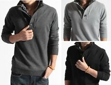 New Fashion Men Slim Fit Pullover Cardigan Polo Sweater Coat Top False two-piece