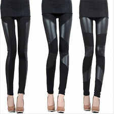 Fashion Sexy Women Stitching Stretchy Faux Leather Black Tights Leggings 2014