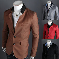 Sexy Men's Stylish Slim Fit Suit Two Button Business Casual Blazer Coat Jacket