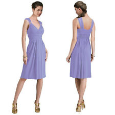 Light Shirred Stylish Knee Length Cocktail Party Day Dress Lavender
