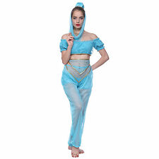 GENIE Jasmine Aladdin Princess Adult Costume Arabian Belly Dancer Fancy Dress