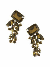 Brand NEW Banana Republic Peacock Stud Earrings 12k Gold Plated Color Brown
