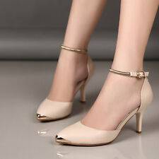 Womens Sexy High Heels Point Toe Leather Ankle Strap Party Work Walking Shoes