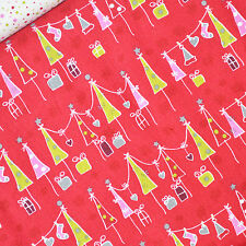 Copenhagen Fabric Fat Quarter Day before X-Mas Christmas Trees Presents on Red