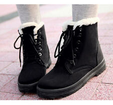 Womens Winter Snow Fur Lined Lace Up Flat High Ankle Boots Round Toe Shoes