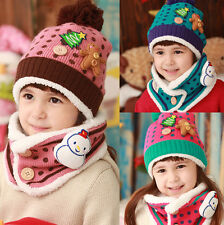 Warm Winter Soft Knitted Christmas Girl Boy Kid Snowman Beanie Hat Cap Scarf Set