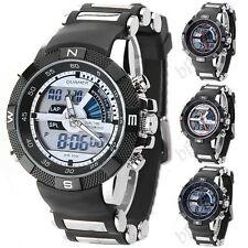 Round LED Digital Quartz Analog Sport Wrist Watch with Rubber Band for Men