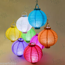 """1/2/5/10 pack Round Color Paper Lantern with LED Light 8"""" 10"""" Decoration Wedding"""