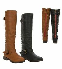 Women's Knee-High Riding Boot Back Stud Fashion Zipper Buckle Bamboo Montage-83