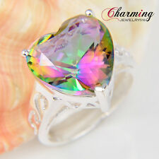 Special Love Gift ! Heart Rainbow Mystical Topaz Gemstone Silver Ring Size 7 8 9
