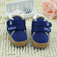 New Boys Warm Letter Casual Velcro Baby Canvas 3-18M Soft-soled Prewalkers Shoes