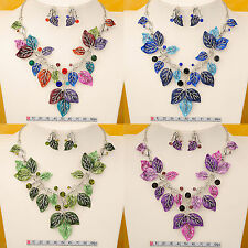 New Leaf Style Gold GP Chain Bib Statement Collar Necklace Earrings Set N-17