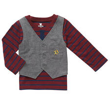 Koala Baby Boys' Maroon/Gray Long Sleeve Shirt with Attached Vest and Tie