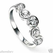 NEW IN:  SOLID 925 SILVER BRILLIANT CUT 5 STONE WAVE ETERNITY OR DRESS RING