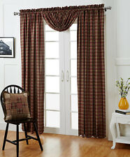 Everson Burgundy Green Plaid Cotton Lined Window Panels Country Home