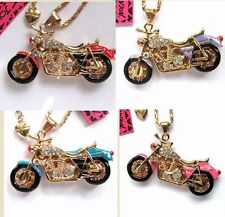 Betsey Johnson bright crystal&enamel motorcycle pendant Necklace 4 Color#589L
