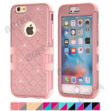 Hybrid Heavy Duty Impact Silicone Bling Diamond Matte Combo Case Skin For iPhone