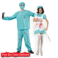 Surgeon Nurse Couples Costume Halloween Zombie Blood Doctor Adult Fancy Dress
