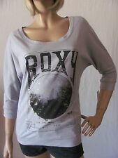New ROXY Womens Jrs Grey 3/4 Sleeve Knit Graphic Print Mystery Tee Shirt Top $32