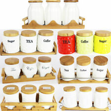 Amazing Style Tea Coffee Sugar Jars Ceramic Canisters with bamboo Lids & Holder