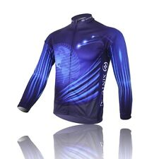 New Mens Winter Bike Bicycle Cycling Jersey Top Long Sleeve Velvet Thermal Blue