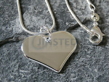 Small Silver Heart Necklace Pendant. Stylish Costume Jewellery Valentines WN009