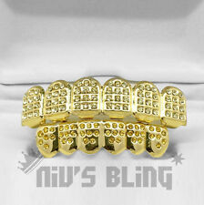 14K Gold Iced Out GRILLZ Lemonde CZ Premium Tooth Mouth Teeth Caps HipHop Grills
