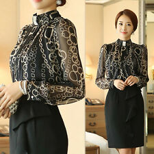 Women Ladies Retro Black Casual Chiffon Dress Shirt OL Blouse Career Top US 2-14