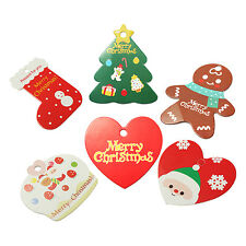 10X Paper Hanging Christmas Xmas Tree Santa Claus Boots Decorations Gift Tags