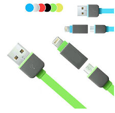Fashion 2in1 USB Data Sync Charger Flat Cable for iPhone 5 5s 5c Galaxy S4 S3