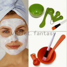 Homemade 4 In 1 Facial Mask Bowl Brush Spoon Stick Tool Set Face Skin Care Tools