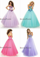 Beaded Wedding Evening Dresses Prom Ball Gown Party Quinceanera Stock Size:6-16