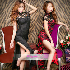Sexy Lace Granny Chic Retro Lingerie Skirt long Chinese Cheongsam Beauty dress