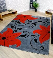 Grey Black and Red Tulip Floral Flower Pattern Rug - Choice Of 2 Sizes