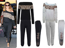 Ladies Leopard Print & Off Shoulder black Tracksuit Jessica Wright Celeb Joggers